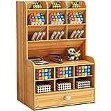 Organisateur de bureau en bois Boîte de support de stylo de papeterie de bureau multifonctionnelle pour rack de stockage de f