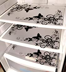 Generic Khushi Creation PVC Classic Refrigerator Drawer mat Fridge Mats(ppq174, Black and White)- Set of 6