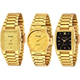 Imperial Club Analogue Men's Watch (Gold & Black Dial Golden Colored Strap) (Pack of 3)