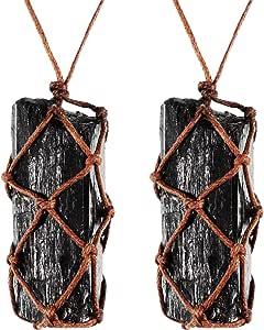 Hicarer 2 Pezzi Collana in Cristallo di Tormalina Nera Grezza Collana Intrecciata a Mano in Pietra Preziosa per Uomo e Donna (Stile 1)