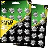 GP CR2032 lithium knoopcellen 3V, knoopcelbatterijen CR 2032 / DL2032, spanning 3 Volt (40 stuks in 8 x 5 stuks, batterijen a