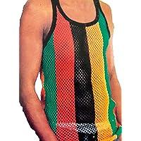 Men's & Ladies Rasta String Vests, Multi Coloured Hip Hop, Cotton Mix, Fitted Premium Tank Tops Fish net
