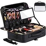 حقيبة السفر الجلدية الاحترافية لمستحضرات التجميل من جاز جوردن مع مرآة كبيرة لتنظيم المكياج، حقيبة تخزين متنقلة مزودة بسحاب وح