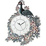 Town Crafts Wooden Handpainted Peacock Wall Clock for Home Study Living Room and Office (White)