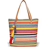 ASTRID Women's Tote Bag with Long Tassel (Multicolour)