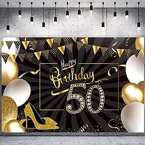 Whaline 50 Geburtstag Party Dekoration Schwarz Gold Kamera