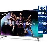 TD Systems K50DLJ12US - Televisores Smart TV 50 Pulgadas 4k UHD Android 9.0 y HBBTV, 1500 PCI Hz, 3X HDMI, 2X USB. DVB-T2/C/S
