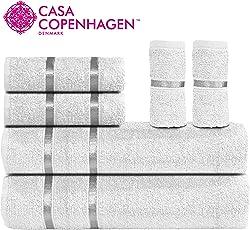 Casa Copenhagen Eternal 450 GSM Premium Egyptian Cotton 6 Pcs Towel Set - (1 King Size Bath Towel (75x150cm), 1 Medium Bath Towel (60x120cm), 2 Hand Towels (40x60cm), 2 Face Towels(30x30cm)