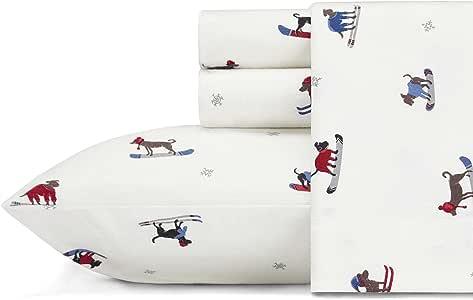 Eddie Bauer Dog Ski Patrol KING Flannel Sheet Set 100/% Cotton Multi Color NWT