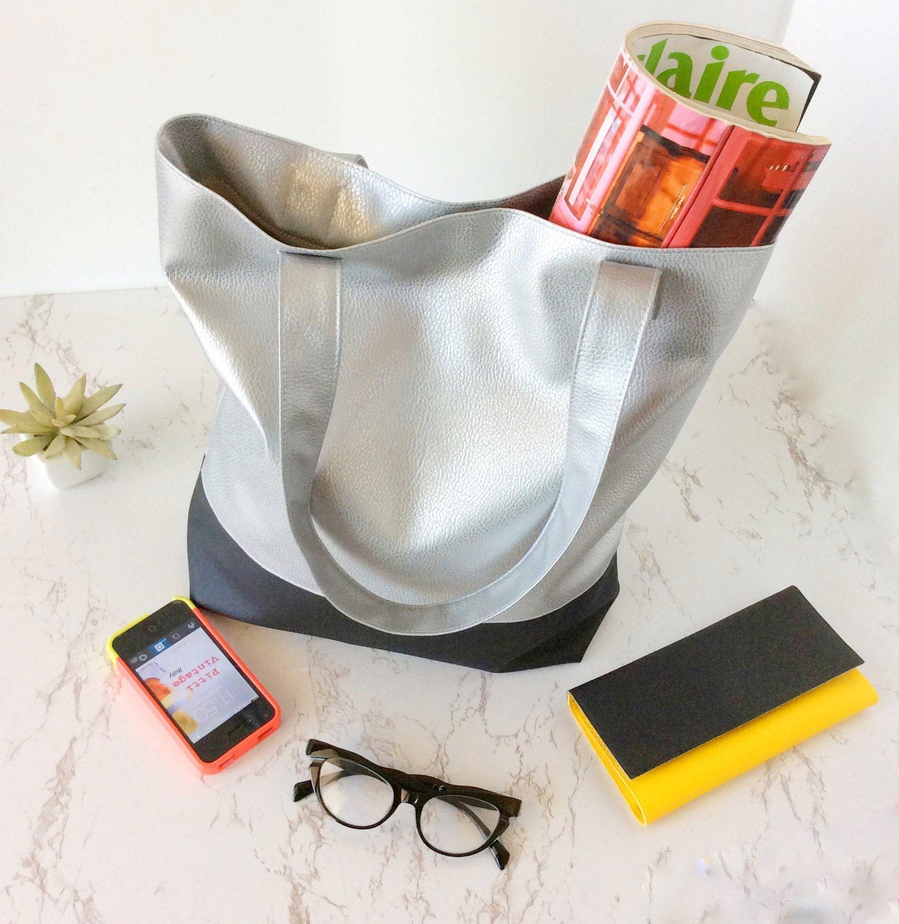 Minimalist silver tote bag vegan shopping shopper for back to school work travel Handmade in Italy - handmade-bags