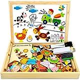 COOLJOY 100 PCS Puzzles de Madera Magnético, Puzzles Rompecabezas Magnéticos de Madera, Tablero de Dibujo de Doble Cara Jugue