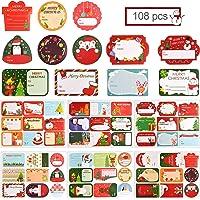 108Pcs Autocollants de Cachetage de Noël, Étiquettes Adhésives en Papier Vacances Cadeau Autocollant pour Emballage…