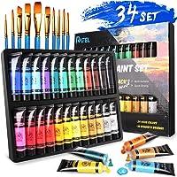 RATEL Set da Colori Acrilici, con 24 Tubi Pittura Acrilica e 10 Pennelli per Pittura, 24×36 ml Pigmento Acrilico, Colore…