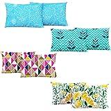 Divine Casa Cotton 104 TC Pillow Cover, Standard, Multicolour, Set of 4
