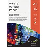 Paper Pep Artists' Acrylic Paint Paper (Pack of 15, A5), (Model: PPAC3A5), White
