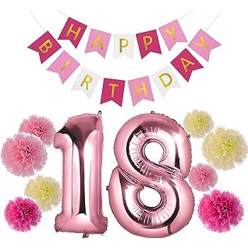 Czemo Decorazioni Festa di Compleanno - Palloncino Numero 18 + Ghirlanda di pennant di buon compleanno + Fiori di Carta - Perfetto per Decorazioni di Festa di Compleanno