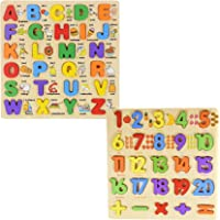 WISHKEY 3D Wooden Capital Alphabet & Number Board Puzzles with Pictures,Set of 2 Montessori Educational Learning Letters…