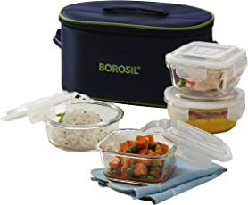 Borosil Microwavable Borosilicate Glass Klip N Store Tiffin Box, 320ml and 400ml, Set of 4 with Lunch Bag