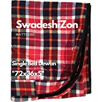 SwadeshiZon Cotton Mattress Protector / Cover Single Bed with Zip / Chain , (Multicolour, 72x36x5 inches / 3x6 Feet)