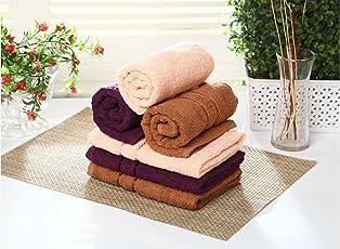 Bombay Dyeing 6 Piece Cotton Hand Towel Set(40cm x 60cm)-Pink/Purple/Brown