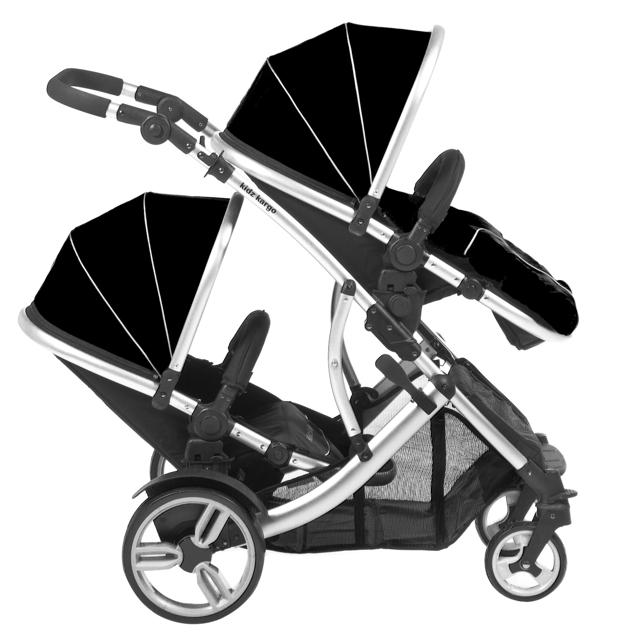 Duellette 21 BS combi Double Pushchair Twin Tandem complete carrycot/converts to seat unit. Free rain covers and 2 free Black footmuffs. Midnight Black by Kids Kargo Kids Kargo Demo video please see link https://www.youtube.com/watch?v=5L8eKWGqoso Various seat positions. Accommodates 1 or 2 car seats Carrycot converts to seat unit incl mattress. Toddler seat from 6 months 4
