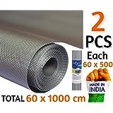 Bulfyss Premium Multipurpose Textured Super Strong Anti-Slip Anti-Skid Eva Mat Liner - Size 60x1000Cm (2 Rolls of 5 Meters) - Grey