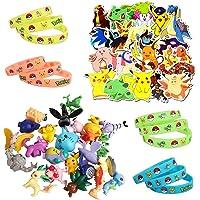 Gxhong Pokémon Ensemble de Jouets, 24 Pièces Mini Figures + 20 Pièces Autocollants Pokémon + 12 pièces Bracelet en…