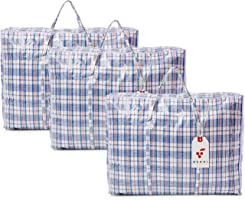Berri 3 X Large Laundry Storage Shopping Bags with Zip - REUSABLE/NEW (Assorted Colour)