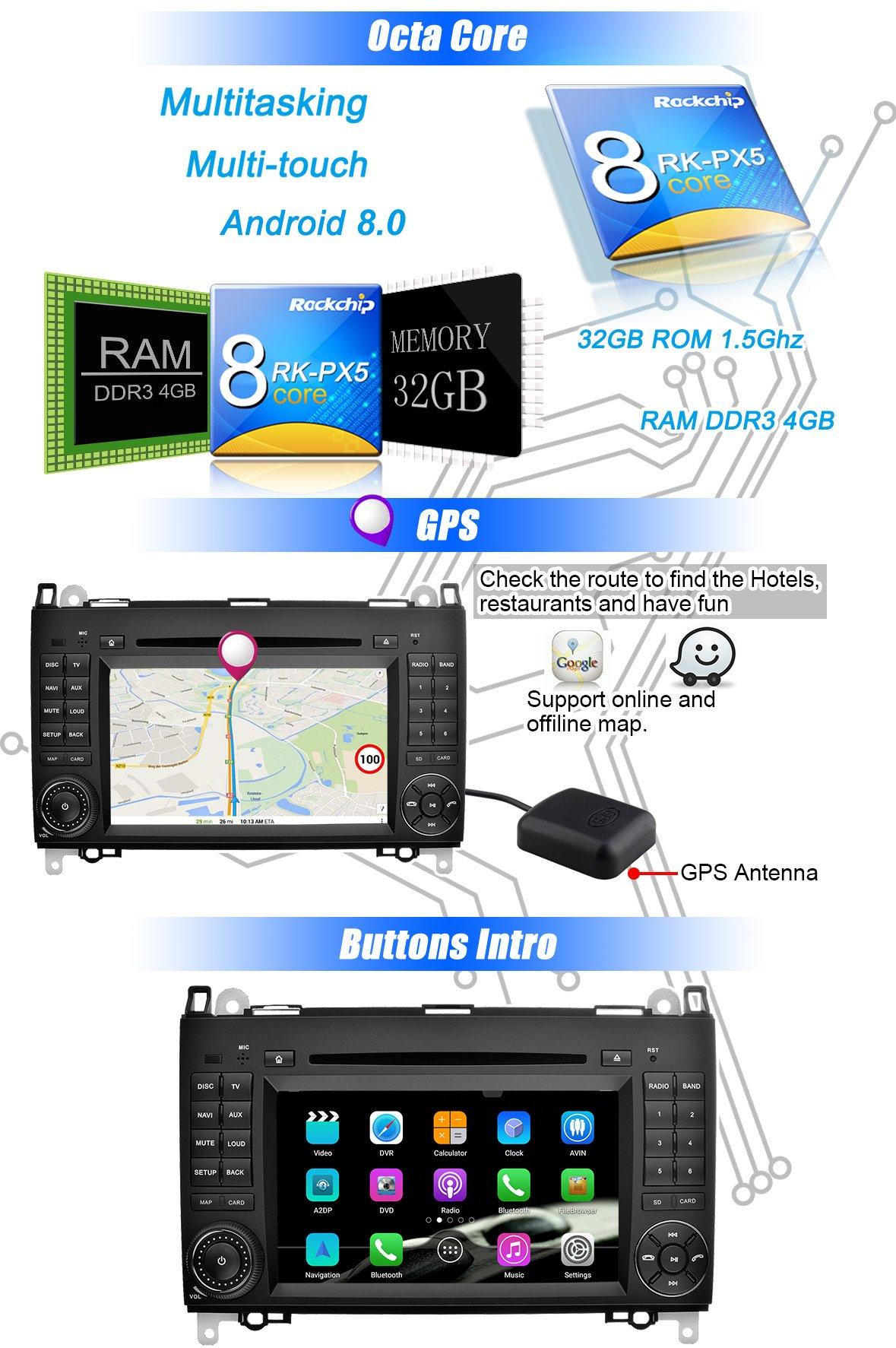 Ohok-7-Zoll-Bildschirm-2-Din-Autoradio-Android-800-Oreo-Octa-Core-4G32G-Radio-mit-Navi-Moniceiver-DVD-GPS-Navigation-Untersttzt-Bluetooth-DAB-fr-Mercedes-Benz-A-classB-classVianoVitoSprinter