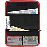 New Era Two Wheeler Document Holder, Car Document Storage Wallet for Registration & Insurance Card– Red/Black (25.5 x 12…