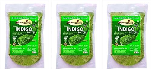 Indigo Powder For Hair | 100% Natural Organically Processed Hair Dye 250 g X 3 By Malvaniya Herbal Care