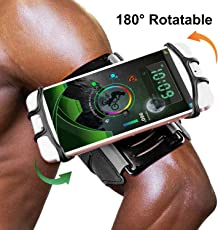 GuckZahl Universelles Running Armband,180 ° Umdrehung Open Face Sport Armband Training Handy Halter mit Schlüsselhalter für iPhone X / 8/8 Plus / 7 Plus / Galaxy S5 / S6, für Damen Herren Wandern Radfahren Walking Armband