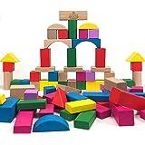 Bausteine aus Holz - Geprüfte Premium Qualität - 100 modern farbige Bauklötze in verschiedenen Größen und Formen - Bunte Holzbausteine für Kinder, Kleinkinder, Babys ab 0 Jahren - Holzspielzeug