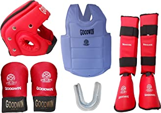 Kai Approved Goodwin Karate Safety Kit - Pack of - Head Guard, Chest Guard, Shin Guard, Hand Gloves and Mouth Guard -Size - Small - Color - Red