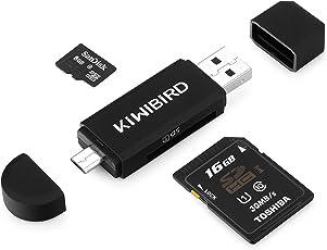 KiWiBiRD SG-008, Lettore di Schede di Memoria SD/Micro SD, Adattatore Micro USB OTG e Lettore di Schede USB 2.0 TF per Computer/Smartphone/Tablet con Funzione OTG