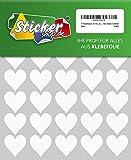 70 Klebeherzen, 30 mm, weiß, aus PVC Folie, wetterfest, Herz Sticker Aufkleber