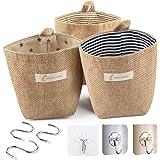 Hotipine 3 Pcs Rétro Sac de Rangement Suspendu Petit, Coton et Lin Panier Pliable Organisateur avec Poignée et 6 crochets pou