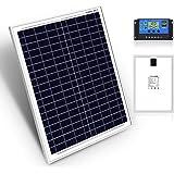 DOKIO 20W Kit de Paneles Solares Policristalinos CON REGULADOR solar para carga 12V Batería FáCIL DE LLEVAR Ideal para carava