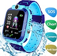 Smart Watch for Kids With GPS Tracker, lesgos Waterproof 1.44 Inch Hd Touch Screen Smartwatch Slim Kid Tracker with Two Way