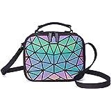 Suuran Geometrische Umhängetasche Holografische Geldbörsen und Handtaschen für Damenmode, leuchtende Umhängetasche mit Hologr