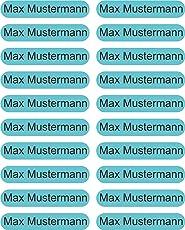 INDIGOS UG Namensaufkleber/Sticker - 36x7 mm - individuell bedruckbar - 150 Stück für Kinder, Schule und Kindergarten - Stifte, Federmappe, Lineale - hellblauer Hintergrund - personalisiert