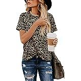 BMJL Camicia Casual da Donna a Maniche Corte con Scollo t-Shirt Girocollo con Stampa Leopardo delle Donne di