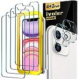 iVoler Lot de 4 Verre Trempé pour iPhone XR et iPhone 11 avec Aide au positionnement, [2 pièces] Caméra Arrière Protecteur po