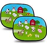 HECKBO® Parasol Autoadhesivo para Coche - protección Solar para niños (2 Piezas) | Granja con animales | 44x36cm | protección
