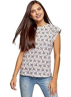 oodji Ultra Donna T-Shirt Stampata con Laccetti
