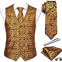 Barry.Wang - Set formale da uomo con cravatta, fazzoletto e gemelli, 5 pezzi.