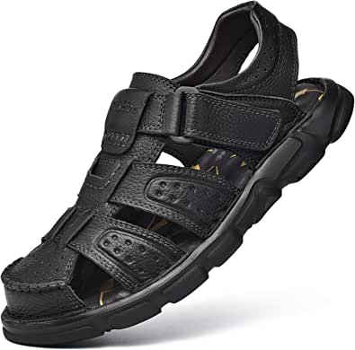 Men's Sport Sandals Closed Toe Outdoor Leather Adjustable Sandal Summer Fisherman Beach Shoes