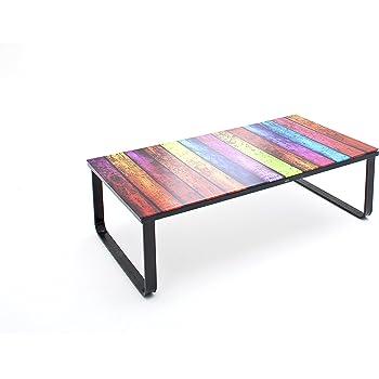Stylischer couchtisch rainbow 105 cm bunter glastisch for Design couchtisch nature lounge teakholz mit runder glasplatte beistelltisch