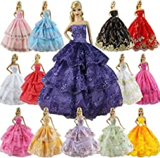ZITA ELEMENT Fashion Handmade Clothes Dress For Barbie Doll - Pack Of 6
