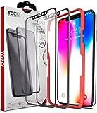 iPhone X Verre Trempé, TOZO 3D Couverture Complète Dureté 9H 2.5D PET Facile à installer Protection ecran iPhone 10/X (Noir)